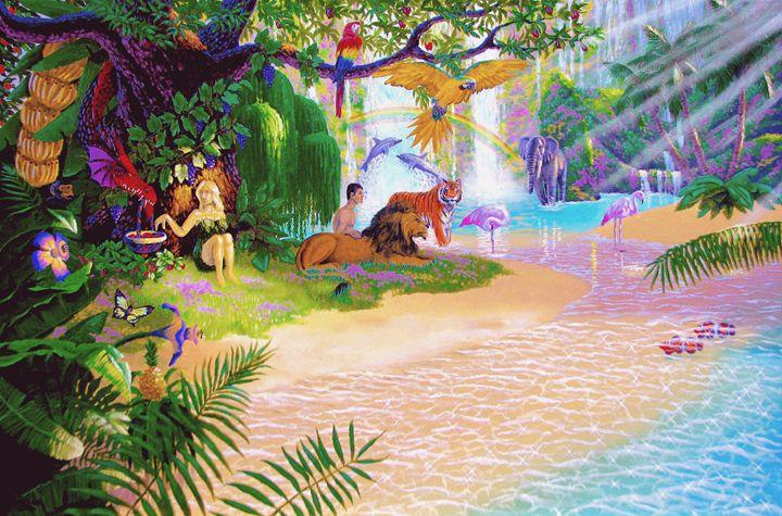 Adam And Eve In Garden Of Eden - Benjamin Davis