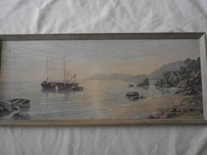 """""""Fishing Boats"""" signed August Albo"""
