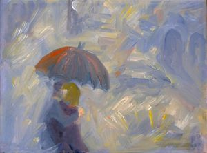 Lovers in the rain - oil on canvas