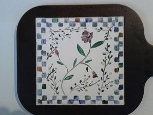 Hand painted tile trivet