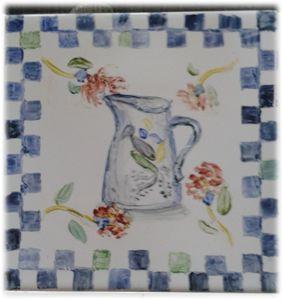 hand painted tile - jug
