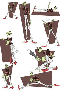 Zomboy action poses red