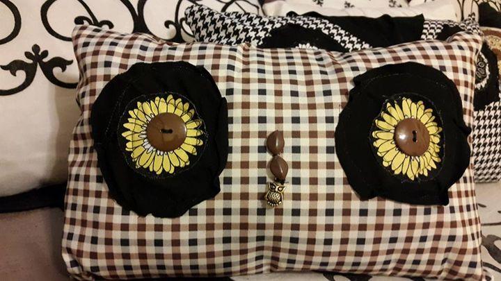 Daisy eye Owl Pillow w/ back pocket - SaintfaerieCreations