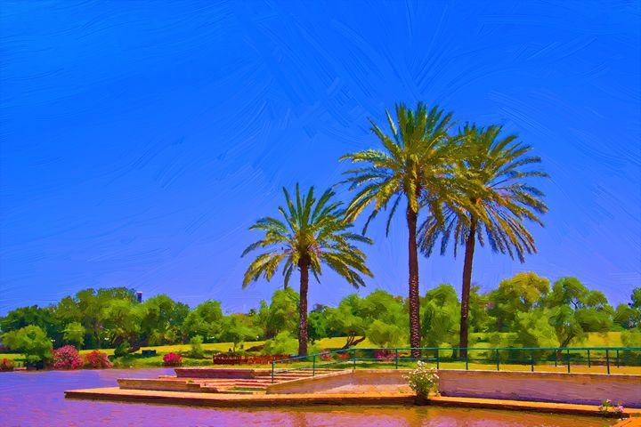 Palm trees by the lake - slavamalai