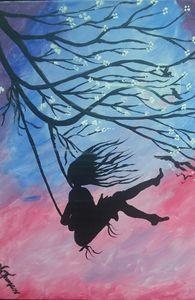 Girl Swinging Siloette