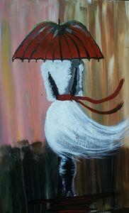 Lady in white walking in the rain