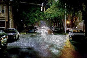 City Street at Night - Christine Mitchell