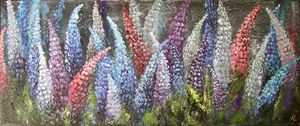 """""""The Lupines"""" 70x30 oil on canvas"""