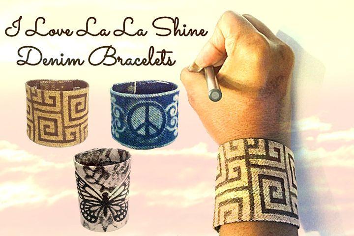La La Shine Denim Bracelets - Dizzy The Artist Fine Art & Accessories