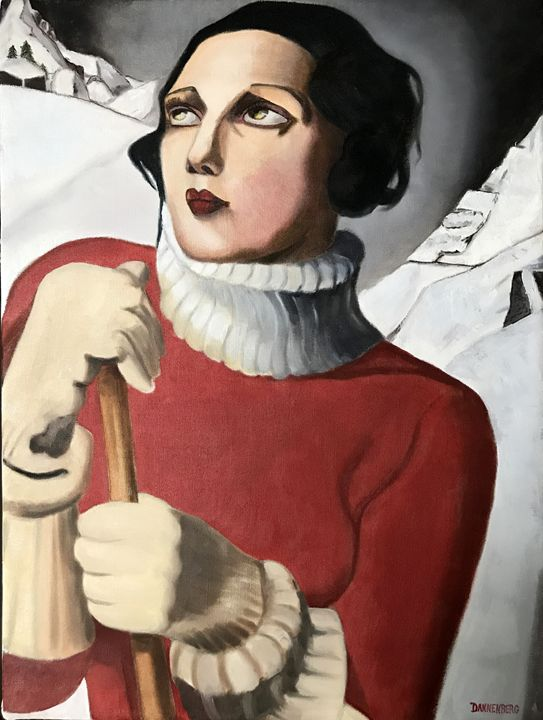 THE SKIER  (AFTER LEMPICKA) - Leslie Dannenberg, Oil Paintings