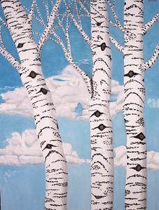 BIRCH TREES - Leslie Dannenberg, Oil Paintings