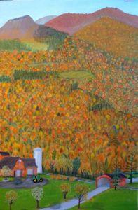 AUTUMN MOUNTAINS - Leslie Dannenberg, Oil Paintings