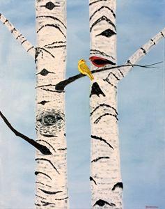TANAGER PAIR ON BIRCH TREE - Leslie Dannenberg, Oil Paintings