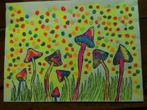 blacklight art trippy shrooms