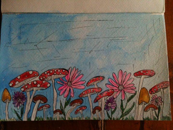 4x6 mushroom flower - Art by Bobbi