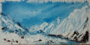 Palette knife painting. snow mountai