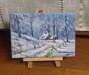 """Mini peinture """"Chalet sous la neige"""""""