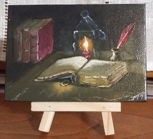 Mini peinture à l'huile sur chevalet