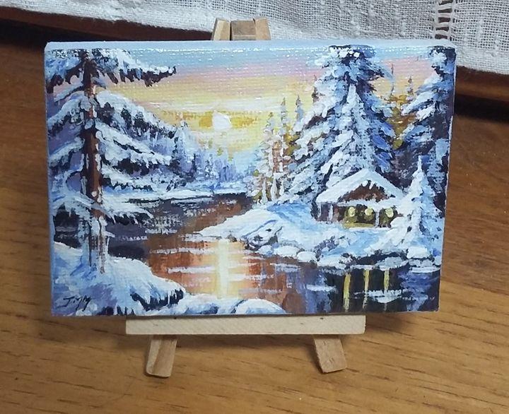"""""""Couché de soleil sous la neige"""" - Jean-marie Nicol"""
