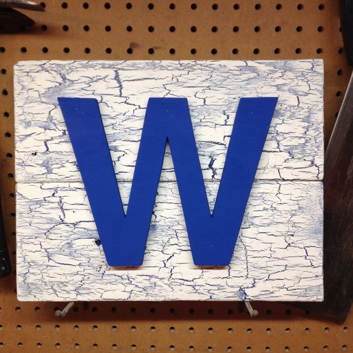 Chicago Cubs Fly the W Wooden Sign - ABS Sports Art & ABS Wood Works