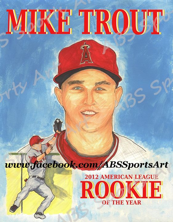 Mike Trout Limited Edition Print - ABS Sports Art & ABS Wood Works