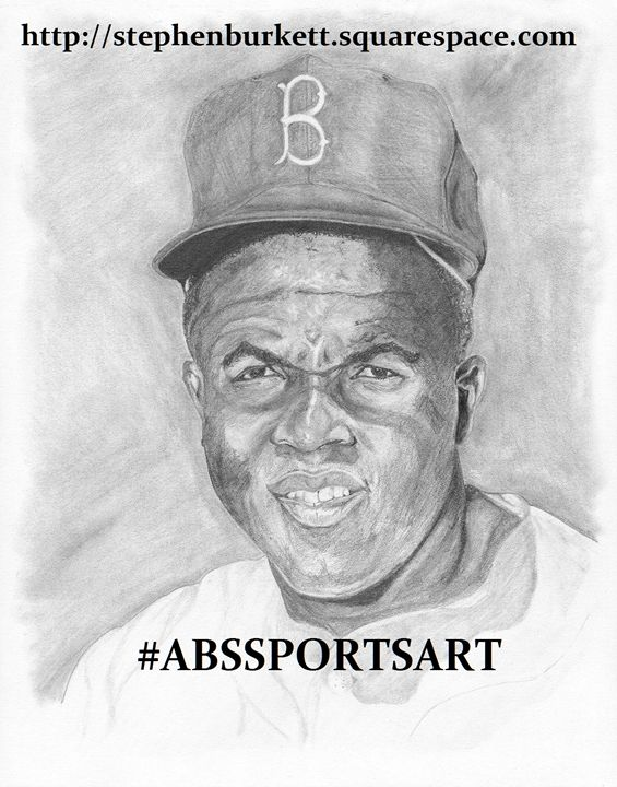 Jackie Robinson 8 x 10 Inch Print - ABS Sports Art & ABS Wood Works