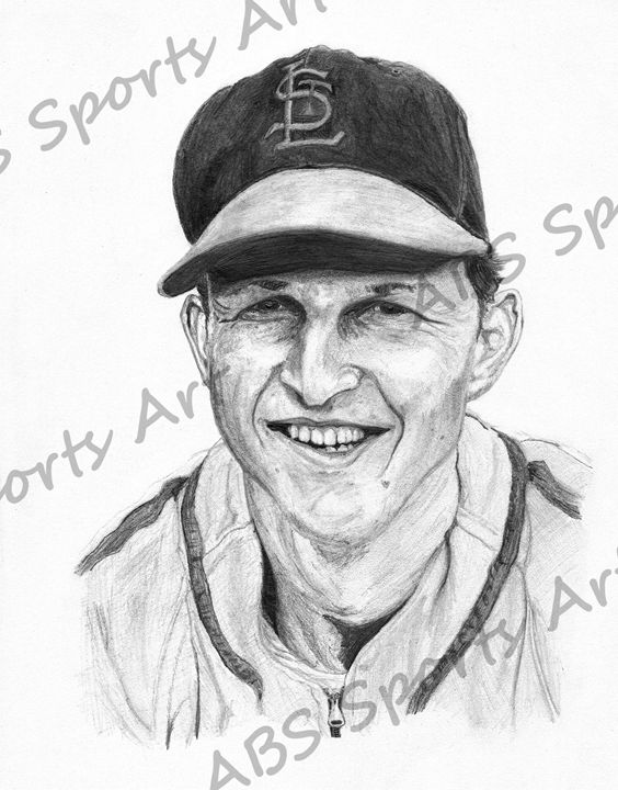 Stan Musial Portrait Print - ABS Sports Art & ABS Wood Works