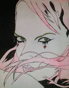 Pink hair girl heart
