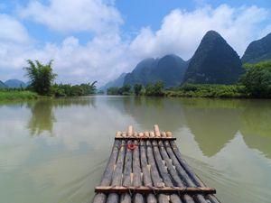 Bamboo raft in Yangshuo