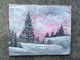 8x10 acrylic snowy landscape
