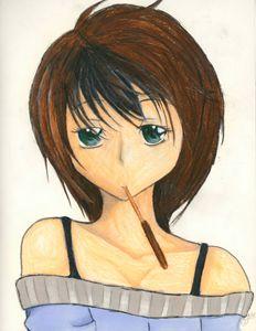 Girl with a Pocky stick