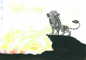 Lion patterned silhouette