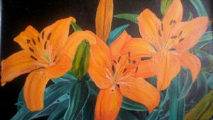 original Oil painting-flowers