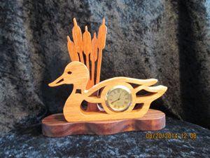 Mini clock-duck in reeds - PXWoodNJoys