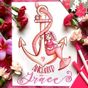 Anchored in Grace, with pink staging - Alicia Young Art