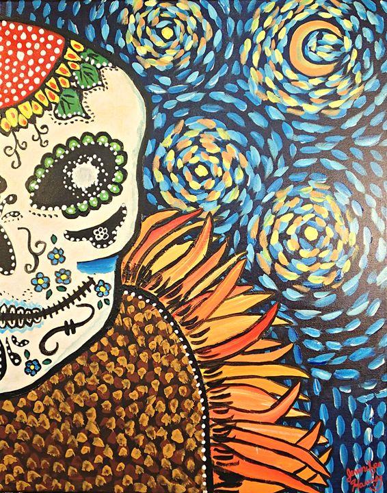 Van Gogh Sugar Skull - BrilliantColorsbyJen