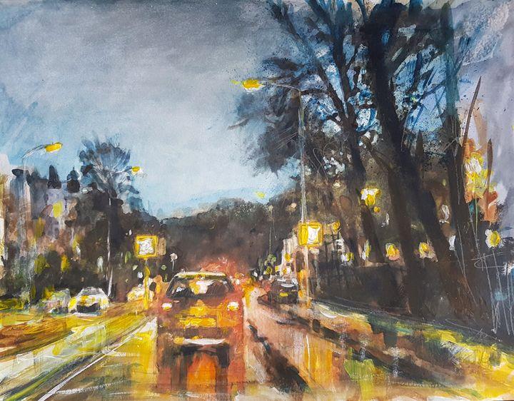 City in the evening - wimvandewege paintings