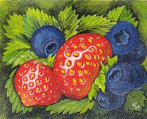 Berries, Red and Blue - Pia's Contemporary Art Collection