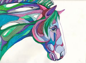 Purple and Green Horse