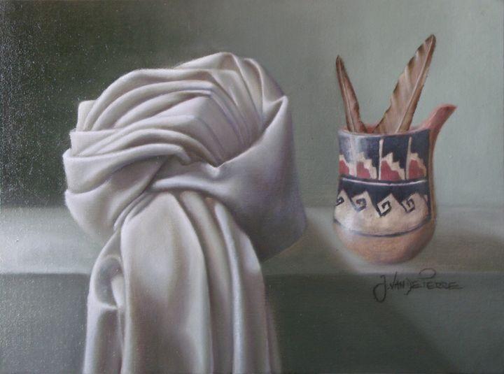 Little ceramic vas and cloth - J.VandePerre