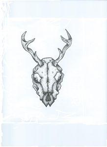 Dotwork deer animal skull