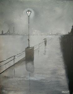 "Romantic Walk in Rain""Black & White"""
