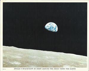 Apollo 8 Spacecraft in Orbit Moon