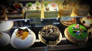 Colorful array of cakes