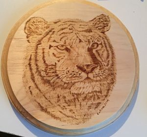 Tiger Pyrography - Wood Burned