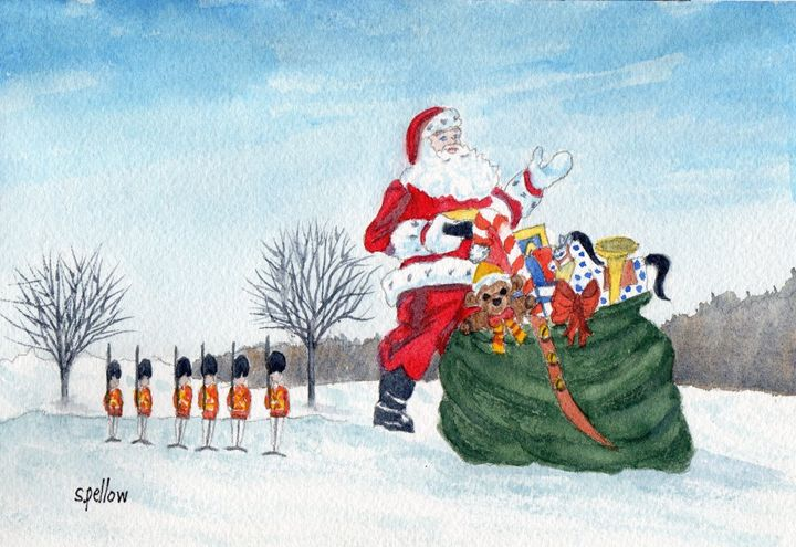 Santa and Toy Soldiers - WatercolorsbySandy