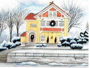 Yellow House at Christmas