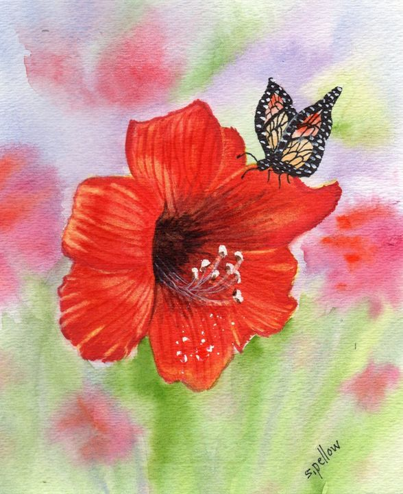 Amaryllis and butterfly - WatercolorsbySandy