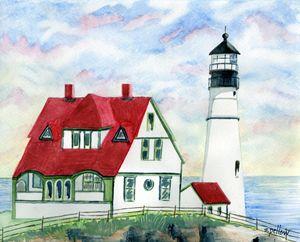 Portland Head Light, Maine - WatercolorsbySandy