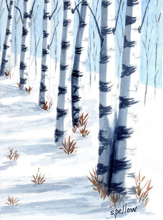 Birch Trees in Winter - WatercolorsbySandy